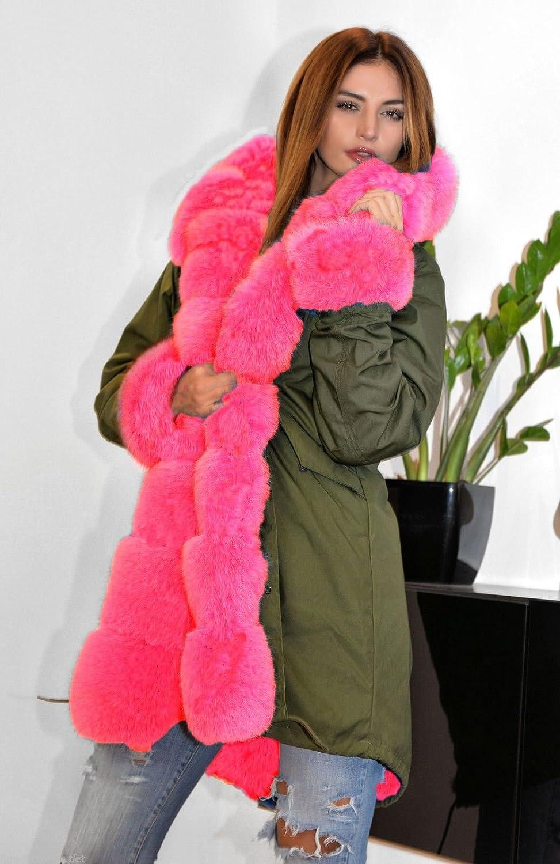 Aofur Damen Wintermantel Kunstpelz Parka Kapuzenfell Futter Jacke Verdicken Warme Oberbekleidung Grün Rosa