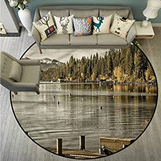 Round Carpet,Forest,Carnelian Bay Lake Tahoe,Super Absorbs Mud,3'11