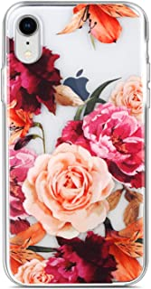 Coolwee Floral Case for iPhone XR,Slim Thin Flower Rose for Women Girls Cute Clear Design Plastic Hard Back Case TPU Bumper Protective Cover 10r for Apple iPhone XR 6.1 inch (Fleur Series) - Purple