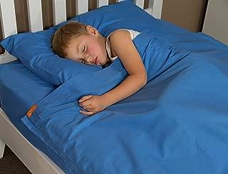Bright Blue Cotton Kids Zip Sheets - Twin Size