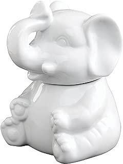 HIC Elephant Sugar Bowl, Fine White Porcelain