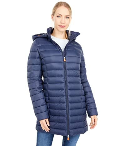 Save the Duck Giga Hooded Puffer Jacket with Removable Hood (Navy/Blue) Women