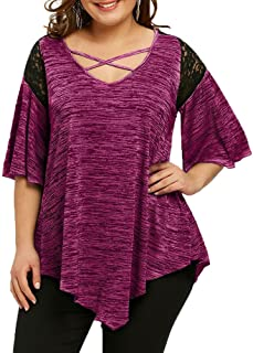 Blouse Top,KIKOY Fashion Womens Plus Size Flare Sleeve Asymmetrical Tunic Lace T-Shirt