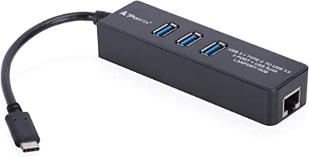 Portta USB Type-C to 3 Port USB3.0 + Ethernet Hub Compatible with Mac or Windows Computers Equipped
