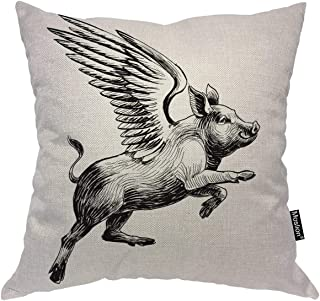 Moslion Pig Decorative Pillow Case Black White Ink Vintage Flying Piggy with Wings to The Sky Throw Pillow Cover Square Accent Cotton Linen Home 18x18 Inch