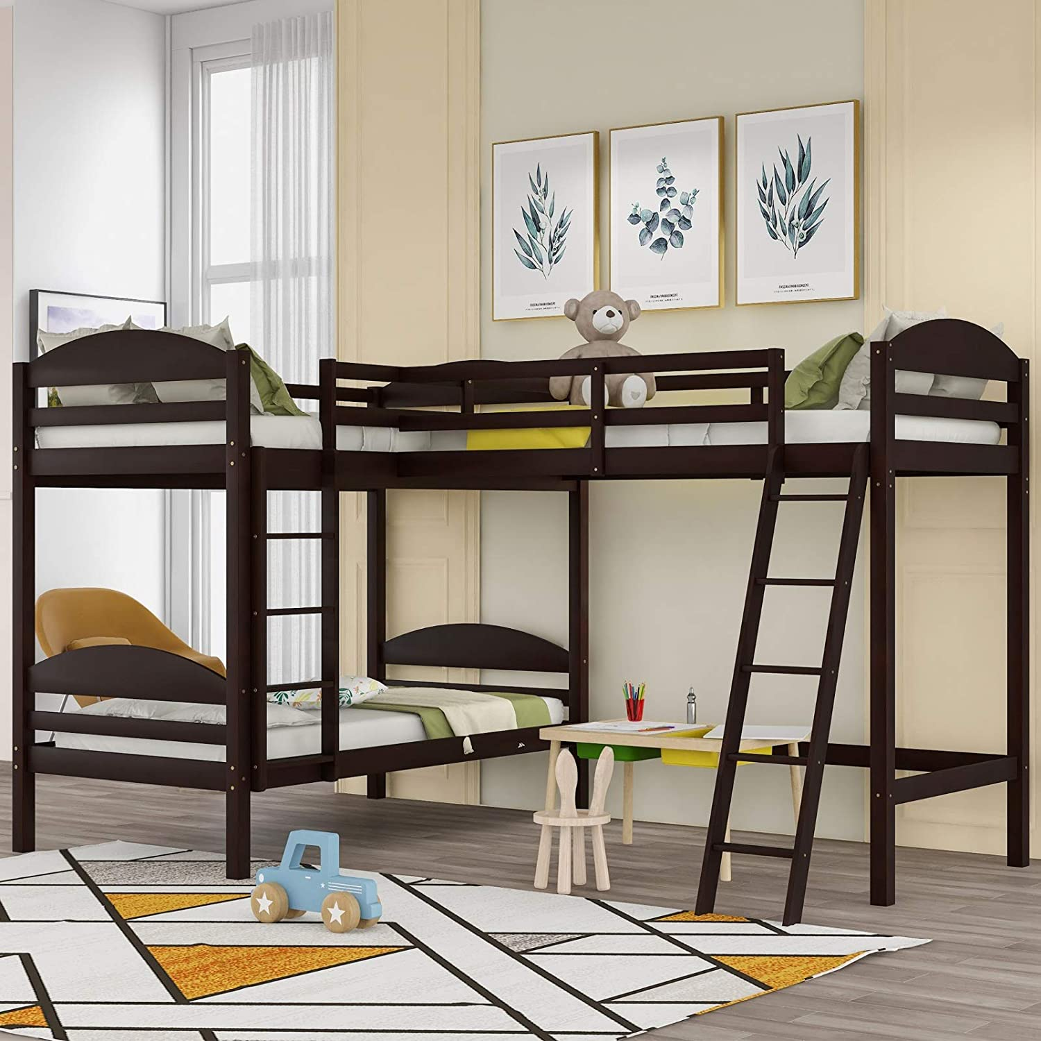 New product JIMAOD L-Shaped Bunk Bed and 3-Be for Limited time cheap sale Suitable Loft Children