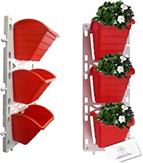 Unique Plastic Vertical Wall Planter (1x3, Red)