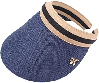 New Woman's Sun Hats Female Bowknot Visor Caps Straw Summer Cap Casual Shade Hat Blue Adult