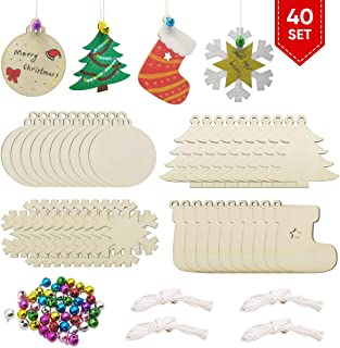 40PCS Unfinished Wooden Christmas Ornaments Bulk,Natural Wood Slices Wood Christmas Tree Ornaments with 40PCS Colorful Bells and 40PCS Wax Rope for Holiday Decoration and DIY Craft Making