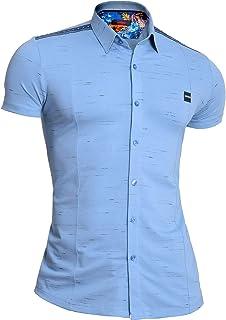 D&R Fashion Mondo Men's Summer Shirt Short Sleeve Stretchy Cotton Studded Comfort Slim