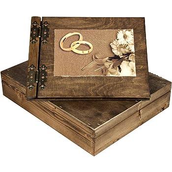 Álbum de fotos de madera en una caja de madera para fotos de boda ...