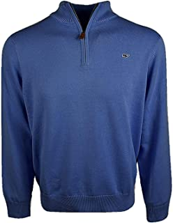 Vineyard Vines Men's Cotton 1/4 Zip Solid Sweater - Deep...