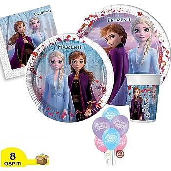 40 Persone ocballoons Kit Festa Compleanno Tavola Party Disney Frozen II 2 Principesse Elsa Anna Addobbi e Decorazioni 40 Piatti 40 Bicchieri 40 tovaglioli 1 Tovaglia Palloncini 20pz Omaggio