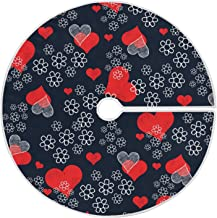 """Qilmy 47.2"""" Valentine's Day Christmas Tree Skirt,Happy Valentine's Day Love Heart Flower Suede Xmas Tree Skir Suitable for..."""