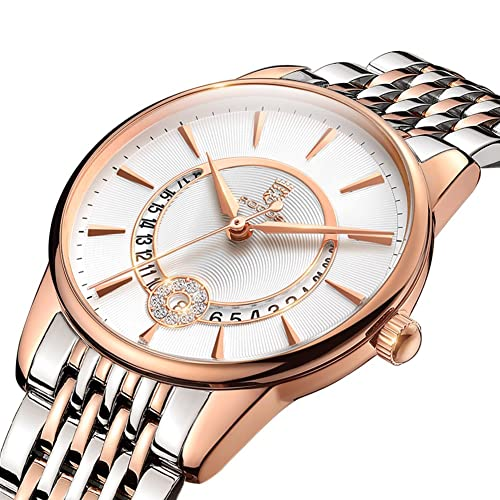 Womens Wrist Watch ROCOS Japanese Quartz Rose Gold Dress Watch with White Dial Ladies Crystal Analog