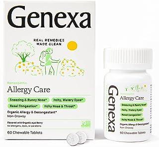 Genexa Allergy Care - 60 Tablets - Multi-Symptom Allergy Medication - Certified Vegan, Organic, Gluten Free & Non-GMO - Ho...