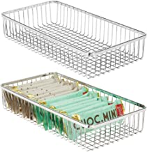 mDesign Metal Farmhouse Kitchen Cabinet Drawer Organizer Tray - Storage Basket for Cutlery, Serving Spoons, Cooking Utensi...