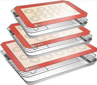 Plaque de cuisson en acier inoxydable avec tapis de cuisson en silicone, lot de 9 (3 feuilles + 3 grilles + 3 tapis), non ...