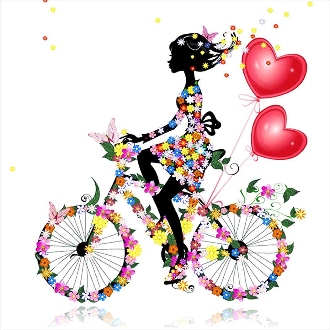 RICUVED DIY 5D Diamond Painting by Number Kit, Girl Riding Bike Crystal Rhinestone Embroidery Cross Stitch Ornaments Arts Craft Canvas Wall Decor 12 x 12inch
