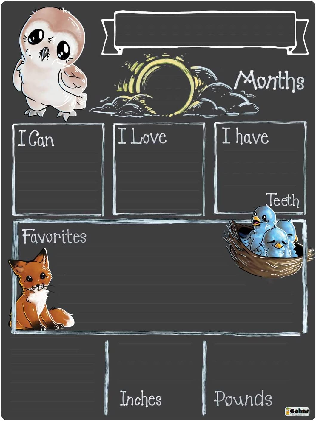 Cohas Monthly Milestone Board for Reus Sale SALE% OFF Theme with Woodland Max 60% OFF Baby