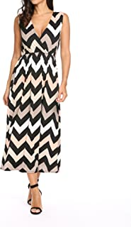 Women's V Neck Sleeveless Elastic Waist Empire Chevron Striped Tank Top Maxi Dress