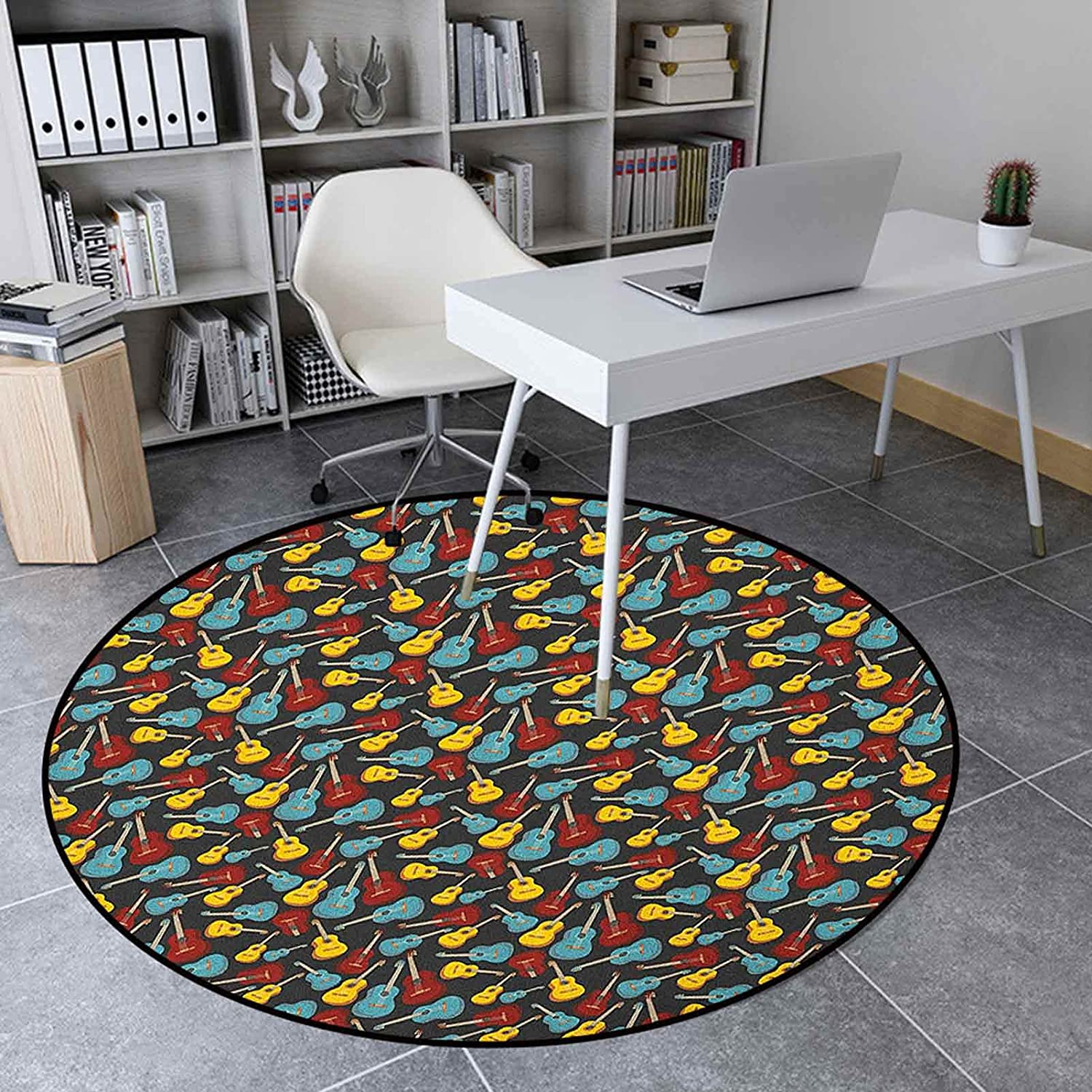 Guitar Round Complete Free Shipping Rug Store for Bedroom 5.6 Home Inches Ft Soft Floor Mat