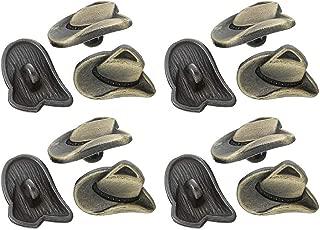 RECHERE 12 PCS Antique Bronze Cowboy Hat Shaped Metal Shank Buttons Craft for DIYS Sewing Embellishment (16mm)