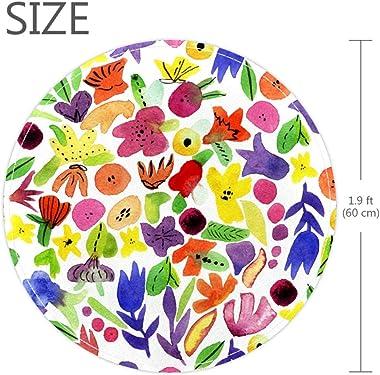 EZIOLY Tapis Rond Aquarelle à Motif Floral pour Chambre d'enfant, Chambre de bébé, Petite Taille, Tapis à Poils Longs pou