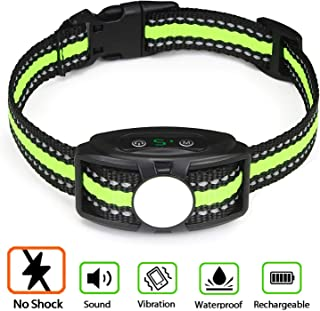 Bark Collar No Shock Bark Collar Rechargeable Anti Bark Collar Shockless with Adjustable Sensitivity and Intensity Beep No Pain Enhance Vibration Harmless Bark Collar for Small Medium Large Dogs