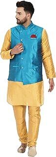 SKAVIJ Men's Kurta Pajama and Jacket (Waistcoat) 3- Piece Set Party Dress