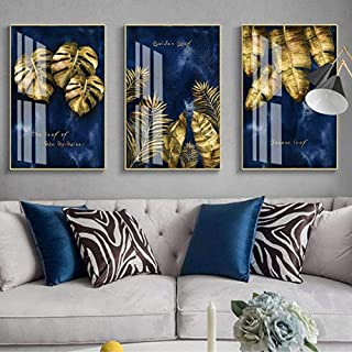 Posters Prints,Modern Nordic Luxury Navy Blue Gold Abstract Texture Canvas Print Wall Art Poster Decorative Painting For L...