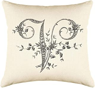 Di Lewis Throw Pillow Cushion Cover - 20x20 - Vintage French Monogram Letter V - Woven Cotton Blend - for Couch Bed Sofa Pillows - Linen Cream
