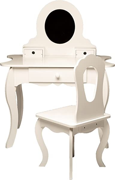 MMP Living Girls Vanity Set With Mirror Storage And Chair White