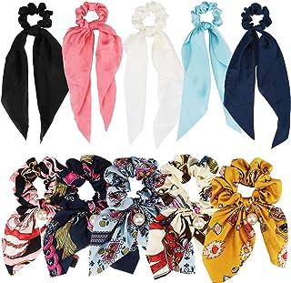 Scratchies موهای ANBALA Satin Ribbon، Scruncies 10Pcs Bow، Scruncies نازک سرد ، لوازم آرایش مو برای دختران خانمها (5 گل Scrunchies رنگی + 5 Scrunchies رنگ جامد)
