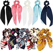 ANBALA Satin Ribbon Hair Scrunchies,10Pcs Bow Scarf Scrunchies, Thin Cold Scrunchies with Tail, Hair Ties Accessories for ...
