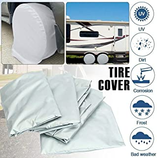 Bessie Sparks Tire Covers - Weatherproof Wheel Cover 27-29 Inch Set of 4 for Rv Travel Trailer Camper Vinyl Wheels, Sun Rain Snow Protector, Waterproof, Silver