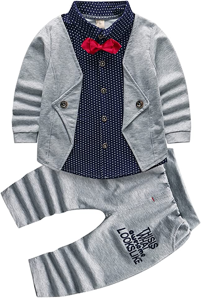 2pcs Baby Boy Clothes Set Toddler Tuxedo Outfit Kids Clothing Suits for Infant Long Sleeve Dress Shirt + Pants