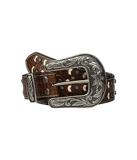 M&F Western Nocona Faux Croc Belt w/ Contrast Lacing & Nailheads