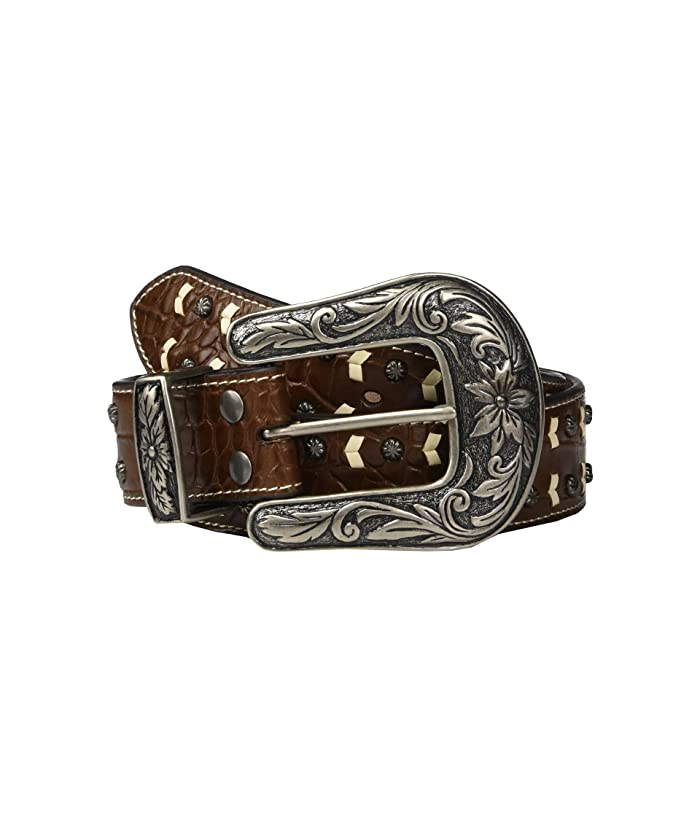 M&F Western Nocona Faux Croc Belt w/ Contrast Lacing Nailheads (Brown/Ivory) Women