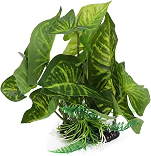 Artificial Leaf, Underwater Green Plastic Water Grass, Tropical Fish Tank Plants, for All Fish Reptile Box Landscape Aquar...
