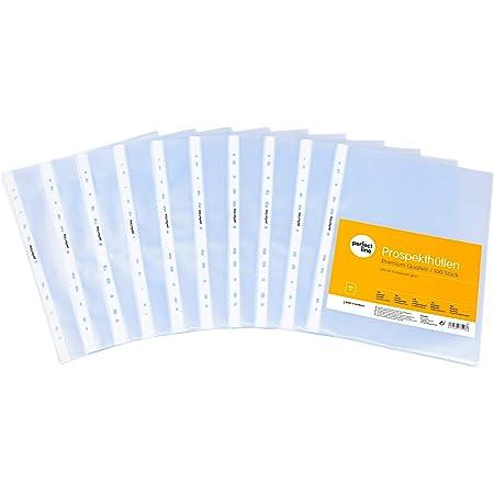 perfect line 100pochettes plastiques cristal A4, pochettes perforées de qualité, ultra-épaisses (120microns), incolores et transparentes, pochettes pour protéger papiers, actes et documents