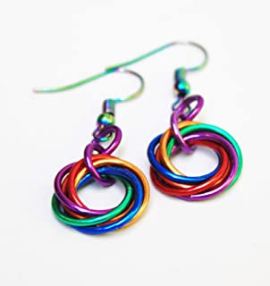 Colourful Rainbow LOVE KNOT Earrings - Celtic Love Knot Chainmail Mobius Flower Earrings LGTBQ - Pride Jewelry - Handmade ...