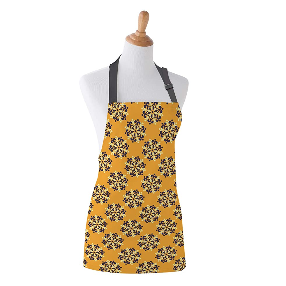 LOT BASIC Luxury Bib Apron with Neck Strap Ethnic Geometric Old Fashion Cooking Kitchen Aprons for Women Men, 15