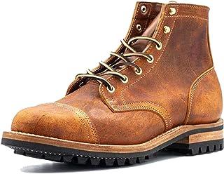 Simlug Bottes Motardes Homme Chaussures à Lacets Automne Hiver Classiques Cuir Bottes de Moto Mode