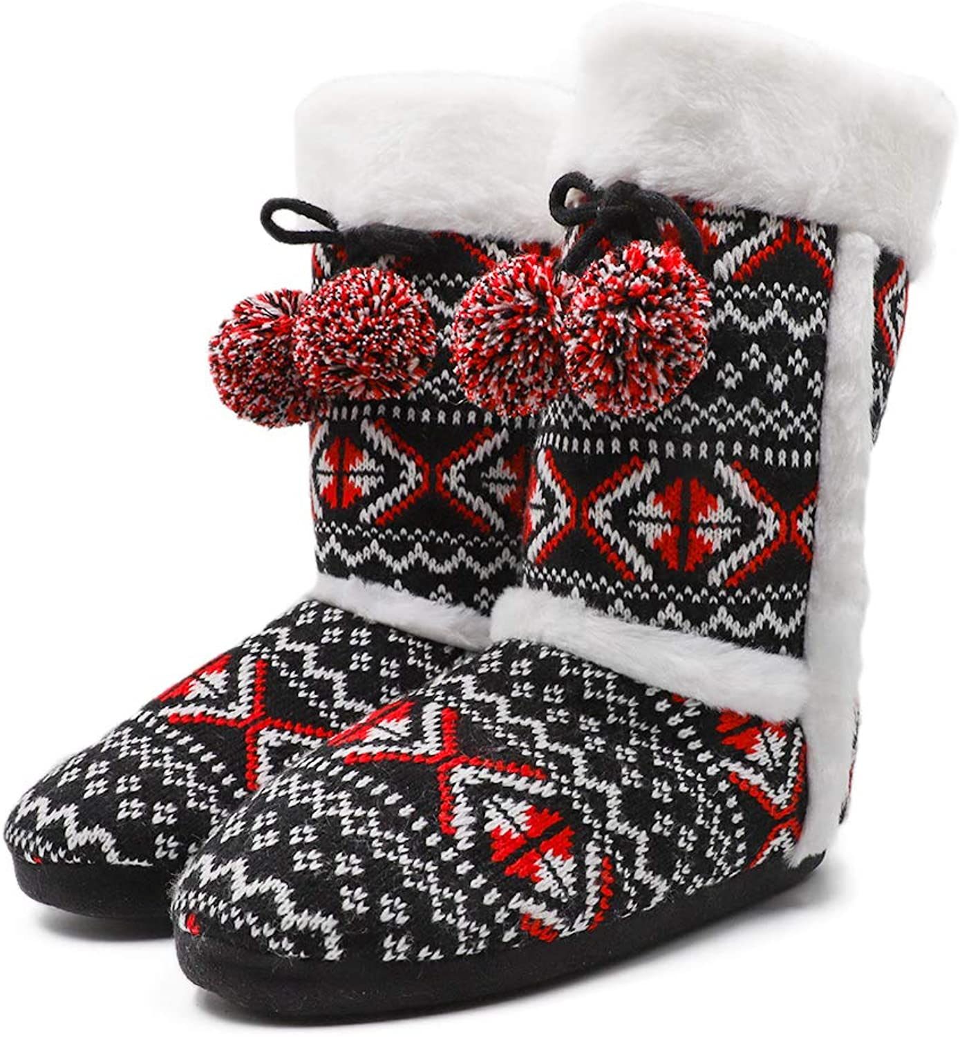 Women Cozy Plush Fleece Knit Bootie Slippers Winter Indoor Outdoor House shoes and Pom Poms