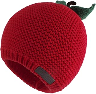 Sponsored Ad - LANGZHEN Winter Warm Knitted Baby Hats for Girls Pom Pom Kid Toddler Boys Beanies Cap with Fleece Lining