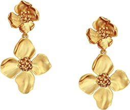 Gold Flower Drop C Earrings