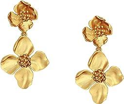 Gold Flower Drop C Earrings