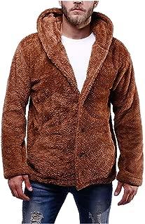 Fanybin Men's Hooded Pure-Colour Fleece Pullover Blouse Plush Thicken Sweatshirt Outwear Tunic Coat Warm Winter