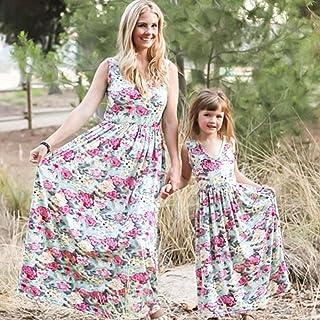 24a0df650474f9 MCYs Mutter und Tochter Kleid Familie Matching Kleidung Floral Strand  Sommerkleid Maxikleid Rundhals Ärmellose Kleider MaxiKleid